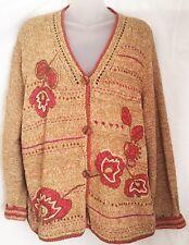 Sigrid Olsen XL Hand Knit Cardigan Sweater Copper Flowers On Golden Brown