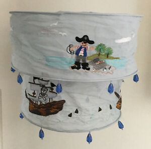 2 Tier Fabric Pirate Childrens Lampshade Blue Boys Ship Embroidered Bedroom Kids
