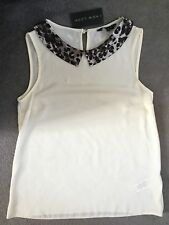 NEW LOOK - CREAM SLEEVELESS BLOUSE WITH BROWN ANIMAL PRINT COLLAR -SIZE 8 - BNWT