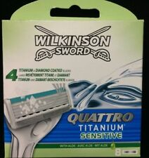 WILKINSON SWORD QUATTRO Titanium Sensitive Razor Blades 8 Pack  With Aloe