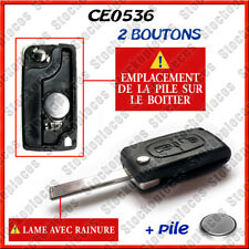Coque Clé Plip Peugeot pour 107 207 307 308 407 2 bouton CE0536 lame avec rainur