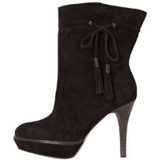 Karen Millen Suede tassel leather ankle boot  Brown Chocolate UK 7 EU 40  VGC