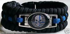 Thin Blue Line Punisher Skull USA Black & White Flag Trilobite Paracord Bracelet
