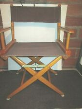 Vintage Folding Directors Chair Canvas Wooden Frame Captains Chair brown fabric