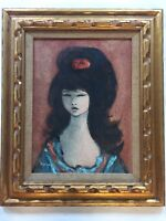 Mid Century Oil Painting Signed Marigny Portrait French-American Big Eyed Girl