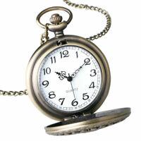 Mens Smooth Pocket Watch Quartz Pendant Steampunk Retro Chain Antique Necklace