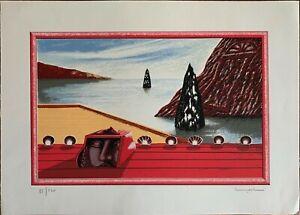 Lodi Silvestro litografia a colori Paesaggio Marino 50x70 firmata numerata