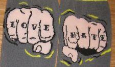 LOVE & HATE Men's Knuckles Tattoo Socks Punk Rockabilly Psychobilly AWESOME