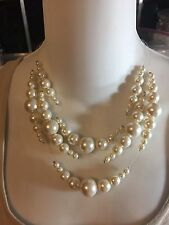 CHICO'S CORRINE WHITE FAUX PEARLS NECKLACE & EARRINGS SET ~ ILLUSION WIRE NWT
