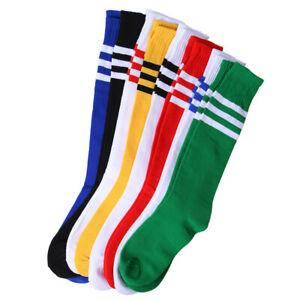 Hot Stripe Soccer Football Running Knee High Tube Socks Sports For Men Women