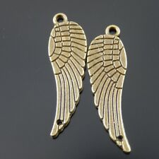 45X Vintage Style Bronze Tone Double Side Angel Wings Pendant Charms 28*9*1mm