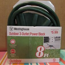 5-Westinghouse 28374 3-Outlet Fan Shaped 8-Feet Outdoor Extension Cord Green