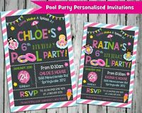POOL PARTY INVITATIONS INVITE SUMMER GIRLS PERSONALISED CHALKBOARD CARDS