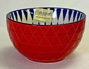 "PFALTZGRAFF EVERYDAY Fruit Bowl NWT 4.5"" Red Embossed w/ Blue Diamonds"