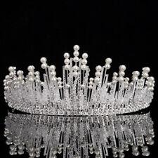 Luxury Pearl Crystal Tiara Wedding Crown Crystal Rhinestone Bridal Headpieces Uk
