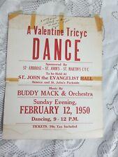 Valentine Tricyc Dance 1950 St John's Buffalo Buddy Mack Cardboard Poster
