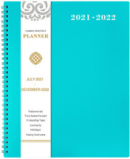 2021 2022 Monthly Daily Planner 18 Month With Tab Large Blue With Label Pocket