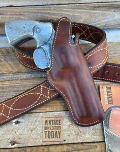 Vintage Bianchi 5BHL Brown Leather Suede Lined Holster For Colt Ptyhon Trooper 4