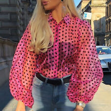 Women Polka Dot Puff Sleeve Blouse Tops Ladies See-through Club Party OL T Shirt