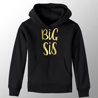 Black & Gold Big Sister Girls T-Shirt Printed Pregnancy Reveal Party Gift Hoody
