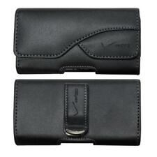 BLACK LEATHER CASE COVER POUCH HOLSTER SWIVEL BELT CLIP K2G for Smartphones