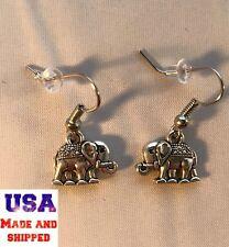 New Tibetan Silver Elephant African Dangle Earrings Women Hypo-Allergenic Hooks!