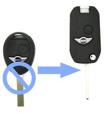 Fits Mini Cooper One S 2 Button Remote key FOB case Folding Type Conversion Kit
