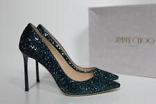 New sz 8.5 / 38.5 Jimmy Choo Romy Blue Glitter Shimmer Pointed Toe Pump Shoes