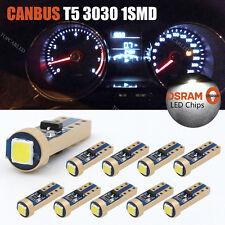 10X T5 OSRAM 3030 Canbus 37 70 73 74 W5W LED 1SMD White Dashborad Light Bulb 12V