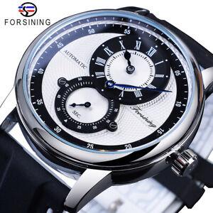 FORSINING Men's Wrist Watch Automatic Piaget Winding Silicon Bracelet