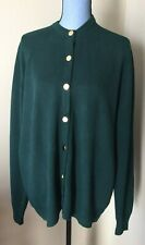 Vintage Lyle & Scott Lambswool Sweater Cardigan Button Scotland Green XL 46