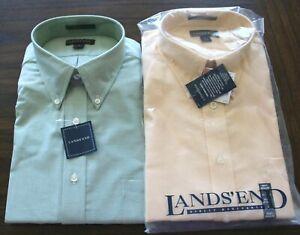 Lands End Mens Button Down Dress Shirts Sz 16 32/33 Green Yellow - LOT OF 2 NEW