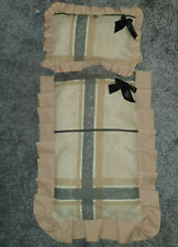 Handmade Dolls cot / pram quilted cotton quilt and pillow Brown Beige Check
