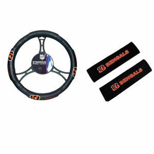 Cincinnati Bengals Car Truck Steering Wheel Cover & Seat Belt Covers Pads NFL
