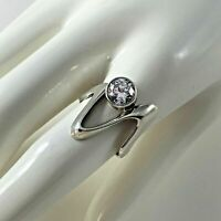 Sterling Silver 925 Rhinestone Ring Modernist Size 8 Jewelry Woman Gift Vtg