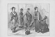 "1871 original print titled ""  japanese ladies at their toilette  """