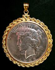 Silver Peace Dollar Pendant 90% Silver Coin 14K Gold Filled Large Rope Bezel