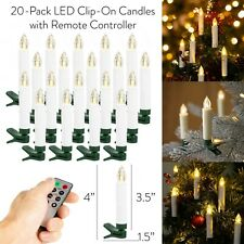 """20pcs Flameless 4"""" LED Taper Candles Battery Powered with Remote Control & Clip"""