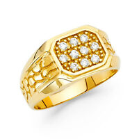 Men 14k Yellow Real Gold Round Milgrain CZ Fashion Wedding Engagement Ring Band