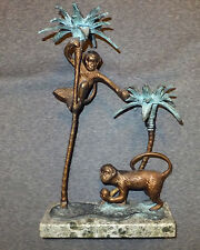 BRONZE MONKEYS  SCULPTURES In Palm Tress: On WHITE/GREY MARBLE