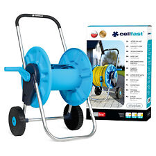 60M PORTABLE HOSE REEL TROLEY GARDEN WATERING PIPE CART FREE STANDING WINDER