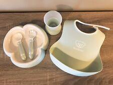 Baby Bjorn Powder Green Baby Feeding Set Dinner Bib Meal Cup Plate Fork Spoon