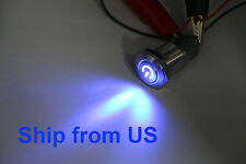 Waterproof Power Push Button Latching Switch 16 mm 12 V Blue LED Head