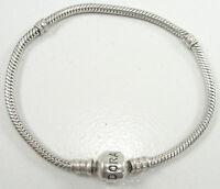 "Pandora Sterling Silver Snake Chain Charm Bracelet Barrel Clasp No Crown 7 1/2"""