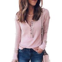 Women Plain Long Sleeve Sweater T Shirt Blouse Slim Fit Button Tunic Tee Tops