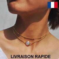 Collier Perle Cristal Opale Double Chaîne Féminin Tour du cou Bijoux Cadeau