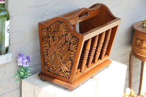 1960s Vintage wood carved oriental bird decor magazine newspaper rack holder