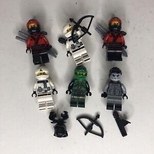 Lego Ninjago Minifigure Lot Red White Green Ninja Shade B1-591