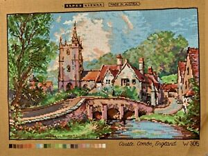 Tapex Viena Printed Tapestry Castle Combe Cotswolds  Canvas Vintage Unused