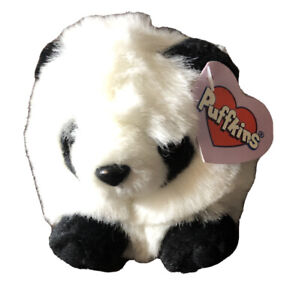 "Puffkins PETER Panda Stuffed Animal Plush 4"" 1997 collection vintage NWT"